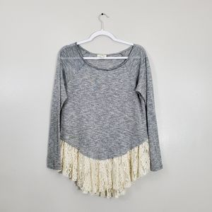 Umgee Lace Bottom Gray Sweater Top
